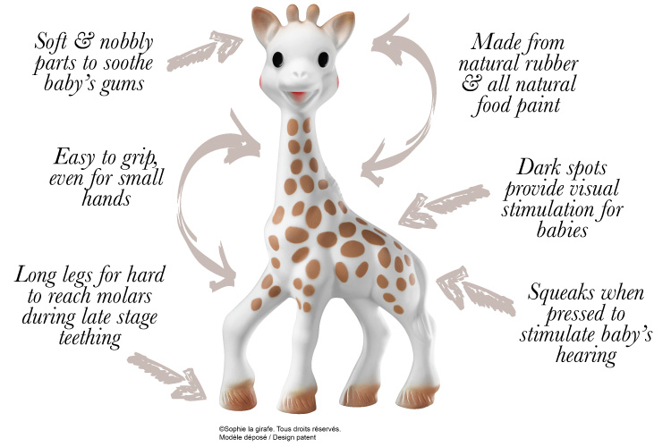 Sophie la girafe - Soft and nobbly parts sooth baby's gums and squeaks when pressed to stimulate baby's hearing.